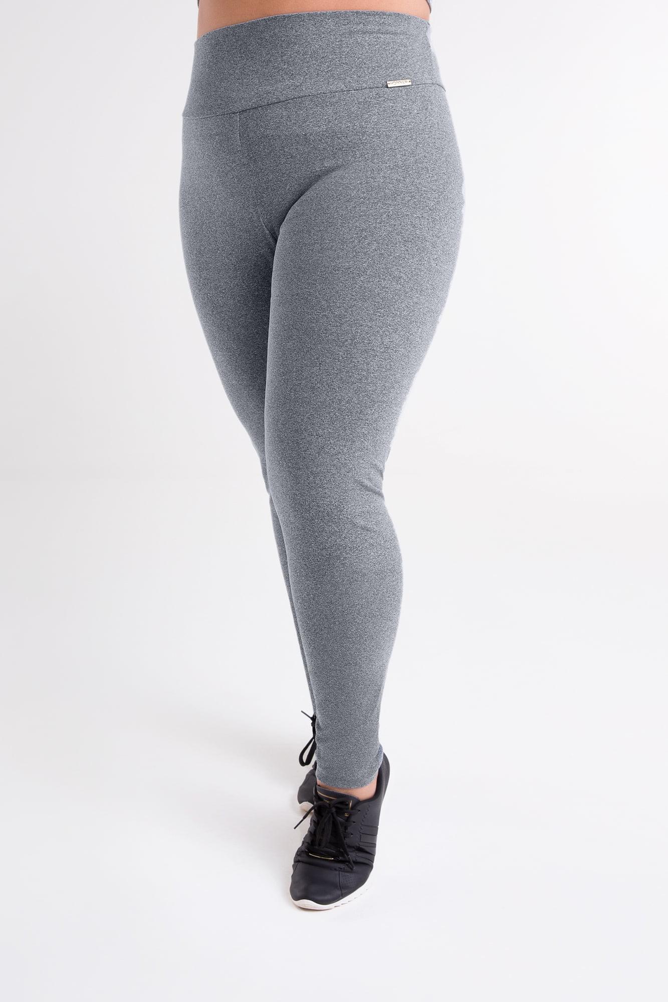 Calça Legging Cinza Mescla Claro Plus Size