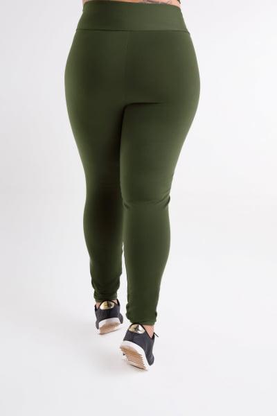 Calça Legging Verde Militar Plus Size